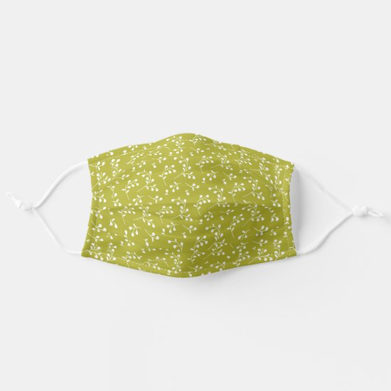 Lime Green & White Retro Floral Pattern Cloth Face Mask