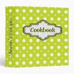 Lime green, white retro polka dot cute recipe 3 ring binder
