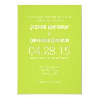 Lime Green White Simple Modern Wedding Invitation