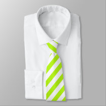 Lime Green/White Striped Tie
