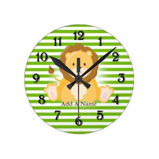 Lime Green-White Stripes•Lion•Custom Round Clock