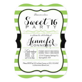 Lime Green & White Stripes Sweet 16 Party Card