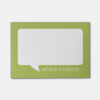 Lime Green & White Talk Bubble Personalized Name Post-it Notes
