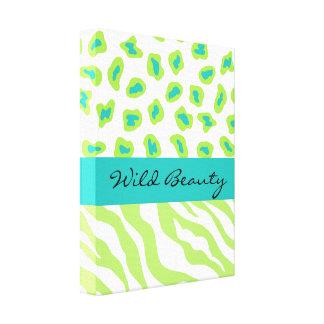 Lime Green & White Teal Zebra & Cheetah Customized Canvas Print
