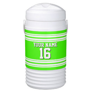 Lime Green White Team Jersey Custom Number Name Beverage Cooler