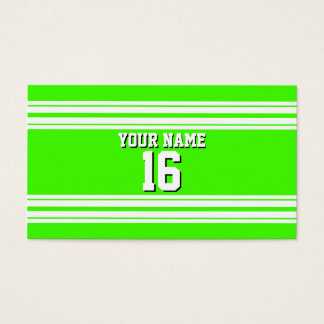 Lime Green White Team Jersey Custom Number Name Business Card