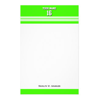 Lime Green White Team Jersey Custom Number Name Stationery