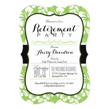 Beach Themed Lime Green & White Tropical Retirement Party Card