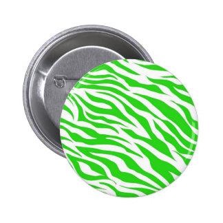 Lime Green White Zebra Stripes Wild Animal Prints Pin