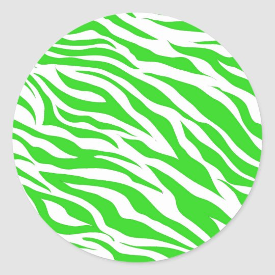 Lime Green White Zebra Stripes Wild Animal Prints Classic Round Sticker