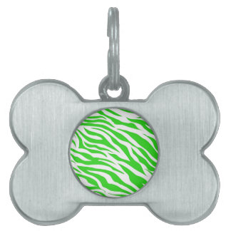 Lime Green White Zebra Stripes Wild Animal Prints Pet ID Tag