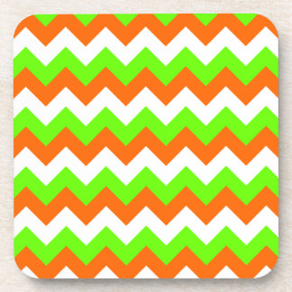 Lime Green White Zigzag Coaster