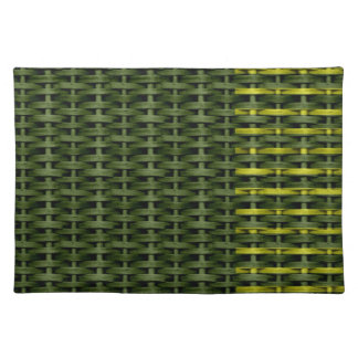 Lime green wicker graphic design cloth place mat