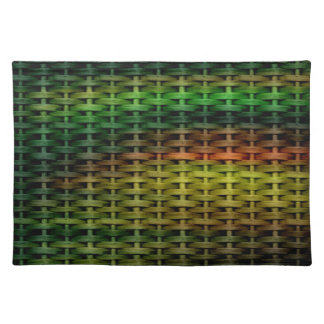 Lime green wicker graphic design cloth placemat