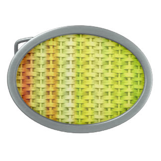 Lime green wicker retro graphic design oval belt buckle