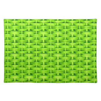 Lime green wicker retro stripes graphic design cloth placemat
