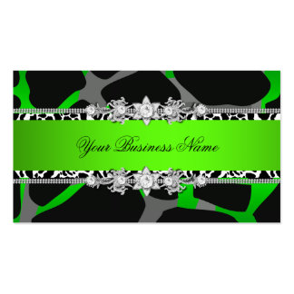 Lime Green Wild Animal Black Jewel Look Image Business Card