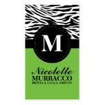 Lime Green Wild Zebra Print Mommy Calling Card / Business Card Templates