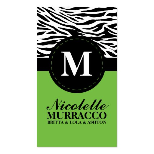 Calling card business card templates page35 bizcardstudio lime green wild zebra print mommy calling card business card templates reheart Image collections