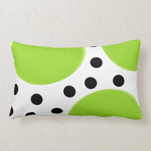 lime green with black polka dots throw pillow Zazzle