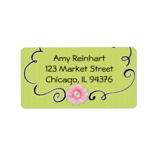 Lime Green with Daisy Personalized Address Label