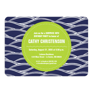 Lime Green with Navy Blue Waves Birthday Card