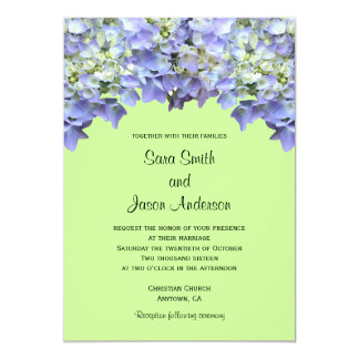 Lime Green with Purple Hydrangeas 5x7 Paper Invitation Card
