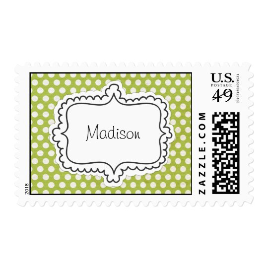 Lime Green with White Polka Dots and Sticker Frame Stamp