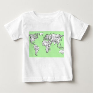 Lime green world map baby T-Shirt