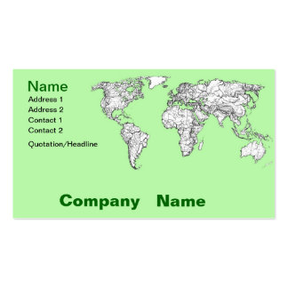 Lime green world map business card template