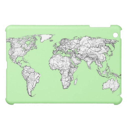 Lime green world map iPad mini cases
