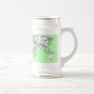 Lime green world map mug