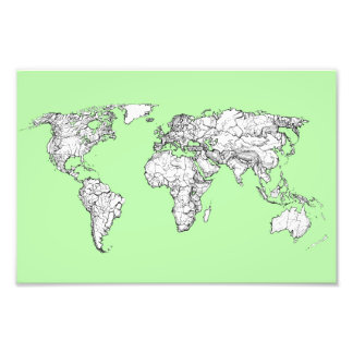 Lime green world map photographic print