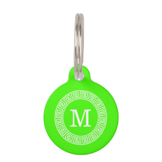 Lime Green Wt Greek Key Rnd Frame Initial Monogram Pet Name Tag