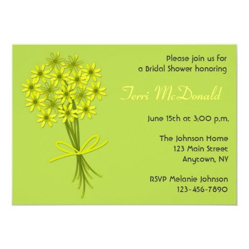 "Lime Green Yellow Bouquet Invitation 5"" X 7"" Invitation Card"