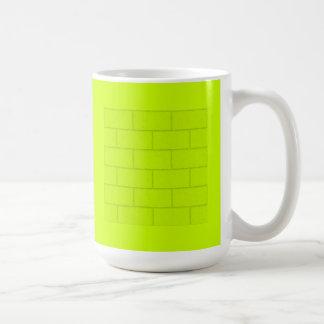 LIME GREEN YELLOW BRICKS TILES PATTERN BACKGROUNDS COFFEE MUG
