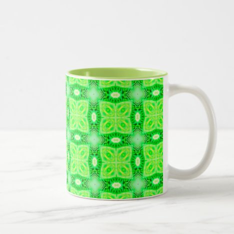 Lime Green Yellow Lattice Modern Hawaiian Quilt Two-Tone Coffee Mug