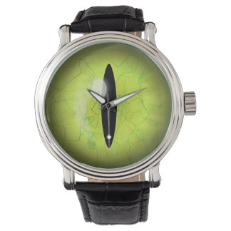 Lime Green Yellow Snake Eye Eyeball Wrist Watch
