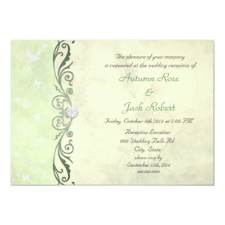 Lime Green Yellow Spring Floral Wedding Reception Card