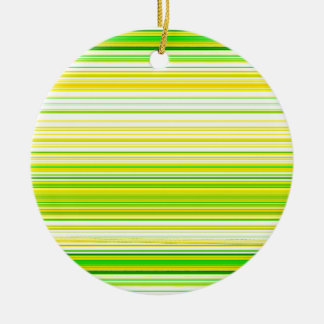 Lime Green Yellow Striped Pattern Ceramic Ornament