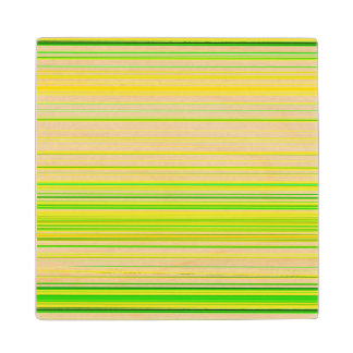 Lime Green Yellow Striped Pattern Wood Coaster