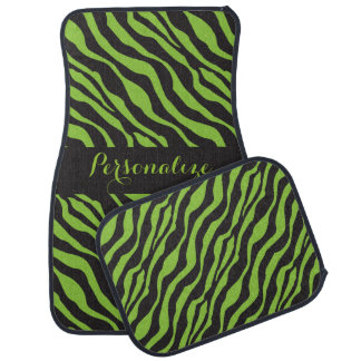 Lime Green Zebra Animal Stripes | DIY Name Car Mat