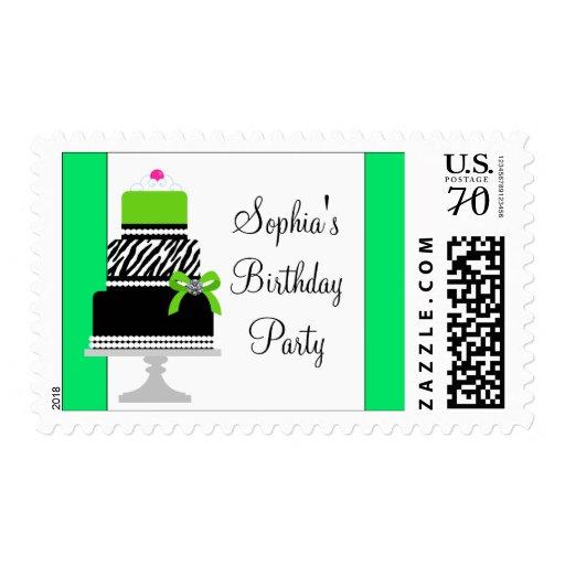 Lime Green Zebra Birthday Cake Lime Zebra Postage