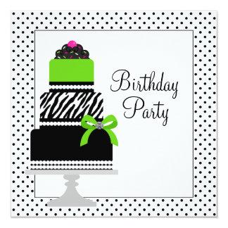 Lime Green Zebra Cake Cupcake Birthday Party 5.25x5.25 Square Paper Invitation Card