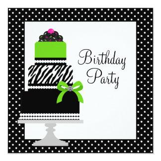 Lime Green Zebra Cake Cupcake Birthday Party Invitation