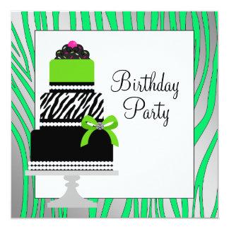 "Lime Green Zebra Cake Cupcake Birthday Party 5.25"" Square Invitation Card"