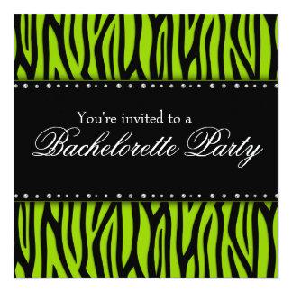 Lime Green Zebra Diamonds Bachelorette Party Card