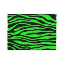 Lime Green Zebra Fleece Blanket