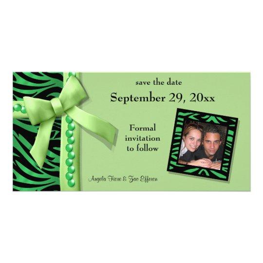 Lime Green Zebra Gems Save The Date Card