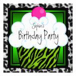 Lime Green Zebra Girls Cupcake Birthday Party Invite